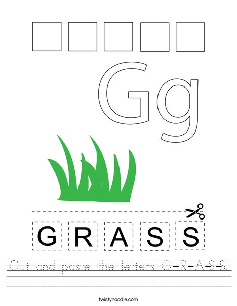 Cut and paste the letters G-R-A-S-S. Worksheet