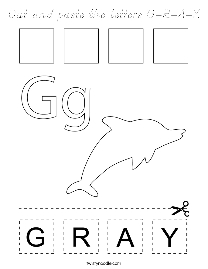 Cut and paste the letters G-R-A-Y. Coloring Page