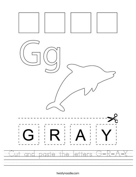 Cut and paste the letters G-R-A-Y. Worksheet