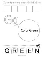 Cut and paste the letters G-R-E-E-N Coloring Page
