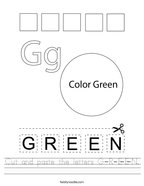 Cut and paste the letters G-R-E-E-N Handwriting Sheet