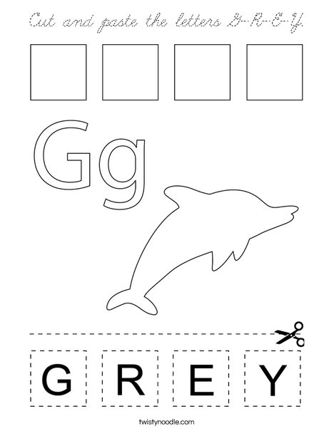 Cut and paste the letters G-R-E-Y. Coloring Page