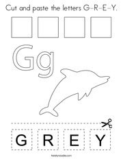 Cut and paste the letters G-R-E-Y Coloring Page