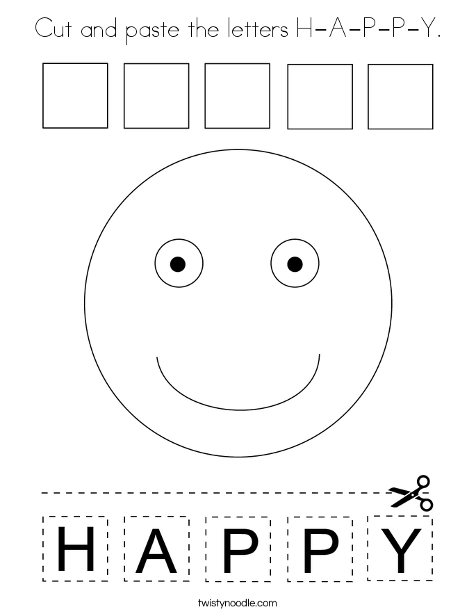 Cut and paste the letters H-A-P-P-Y. Coloring Page