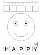 Cut and paste the letters H-A-P-P-Y Coloring Page