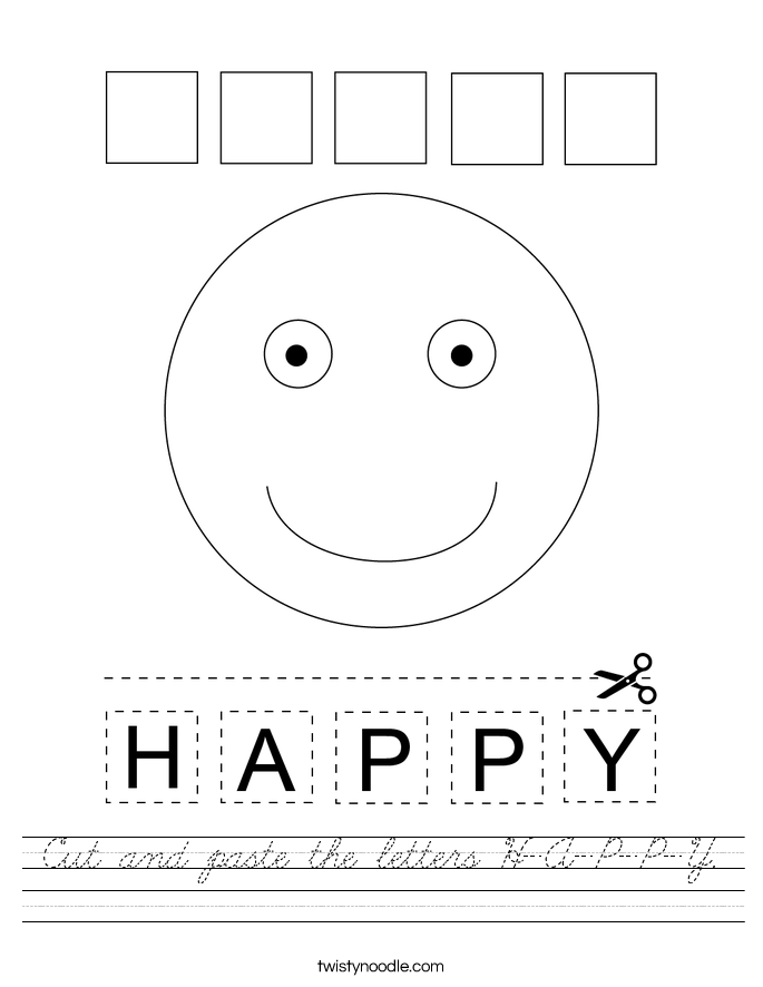 Cut and paste the letters H-A-P-P-Y. Worksheet