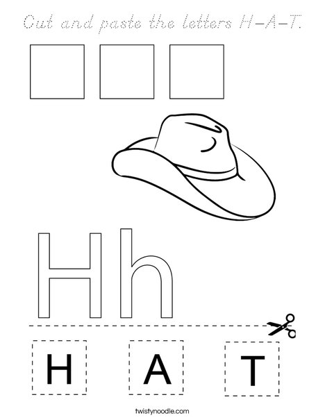 Cut and paste the letters H-A-T. Coloring Page