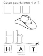 Cut and paste the letters H-A-T Coloring Page