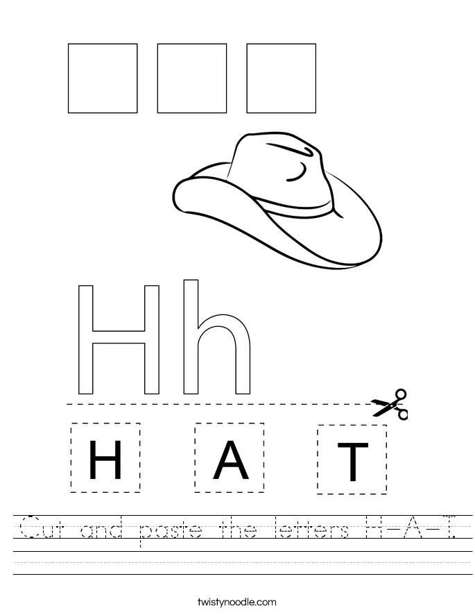 cut-and-paste-the-letters-h-a-t_worksheet T Worksheet Cut And Paste on fall color, body parts, shape matching, for kids, farm animals,