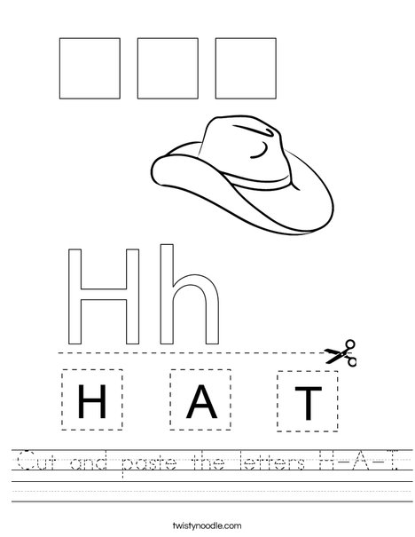 Cut and paste the letters H-A-T. Worksheet