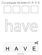 Cut and paste the letters H-A-V-E Coloring Page