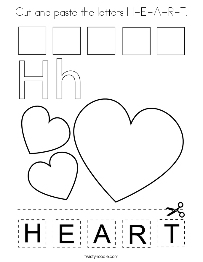 Cut and paste the letters H-E-A-R-T. Coloring Page