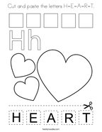 Cut and paste the letters H-E-A-R-T Coloring Page