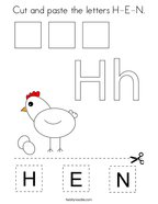 Cut and paste the letters H-E-N Coloring Page