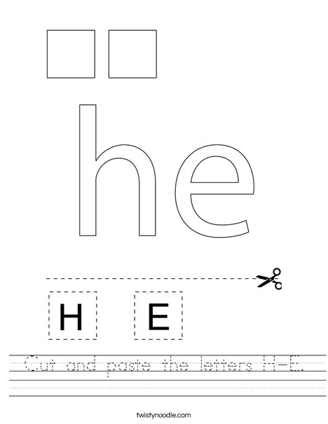Cut and paste the letters H-E. Worksheet