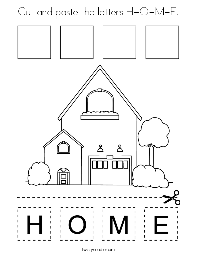 Cut and paste the letters H-O-M-E. Coloring Page