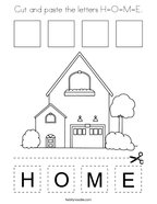 Cut and paste the letters H-O-M-E Coloring Page