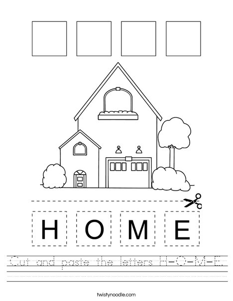 Cut and paste the letters H-O-M-E. Worksheet