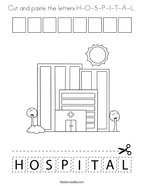 Cut and paste the letters H-O-S-P-I-T-A-L Coloring Page