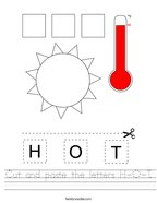 Cut and paste the letters H-O-T Handwriting Sheet