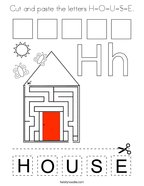 Cut and paste the letters H-O-U-S-E Coloring Page