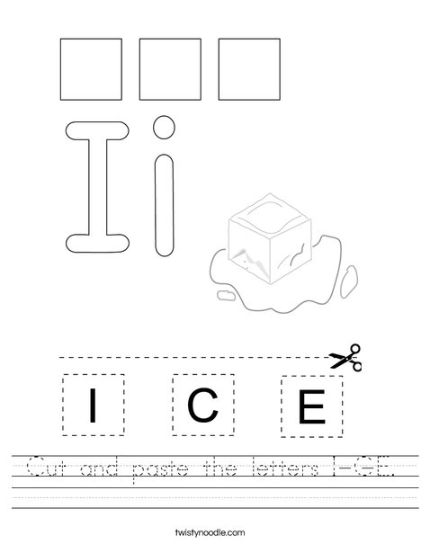 Cut and paste the letters I-C-E. Worksheet