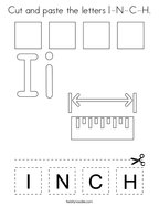 Cut and paste the letters I-N-C-H Coloring Page