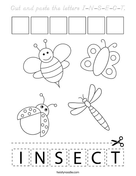 Cut and paste the letters I-N-S-E-C-T. Coloring Page