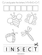 Cut and paste the letters I-N-S-E-C-T Coloring Page