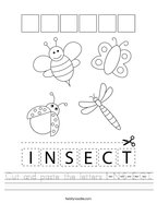 Cut and paste the letters I-N-S-E-C-T Handwriting Sheet