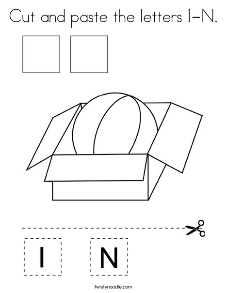 Cut and paste the letters I-N. Coloring Page