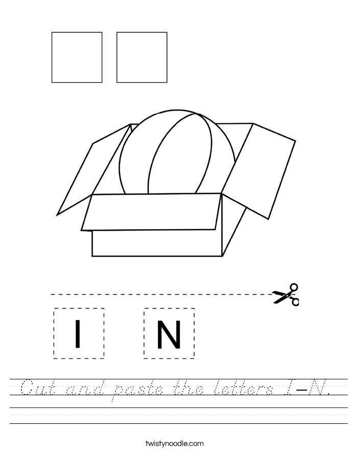 Cut and paste the letters I-N. Worksheet