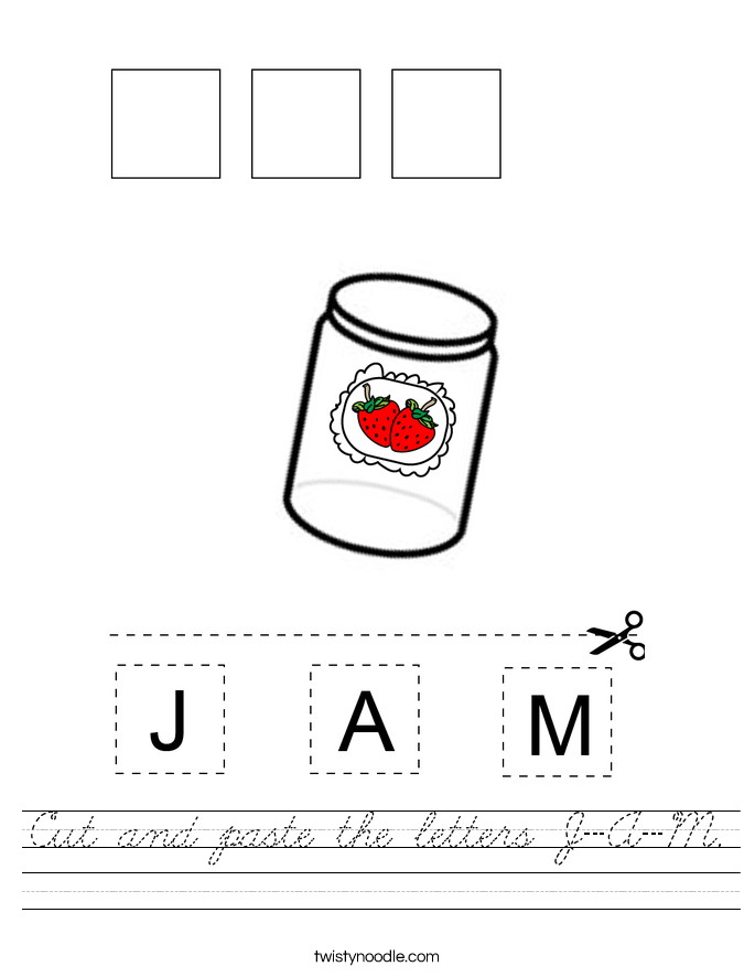 Cut and paste the letters J-A-M. Worksheet