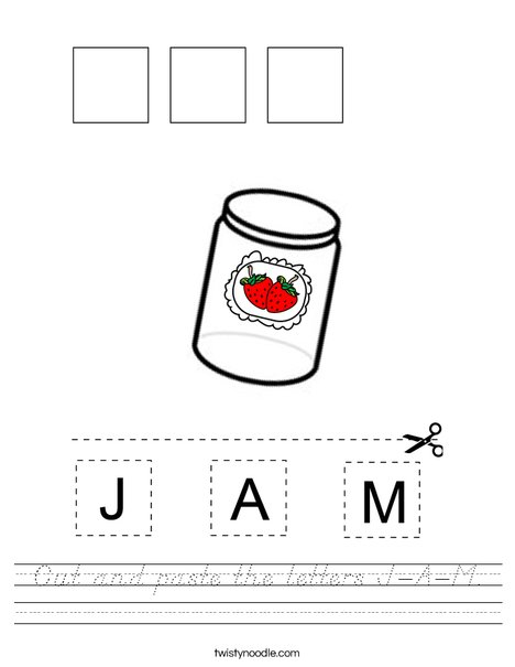 Cut and paste the letters J-A-M Worksheet