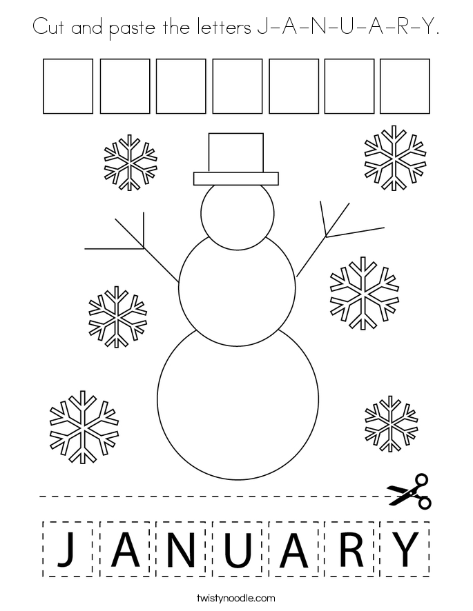 Cut and paste the letters J-A-N-U-A-R-Y. Coloring Page