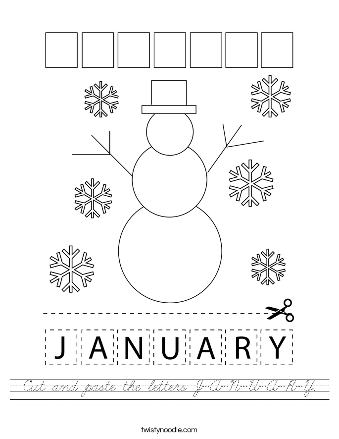 Cut and paste the letters J-A-N-U-A-R-Y. Worksheet