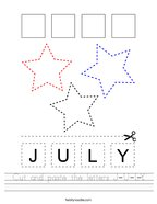 Cut and paste the letters J-U-L-Y Handwriting Sheet