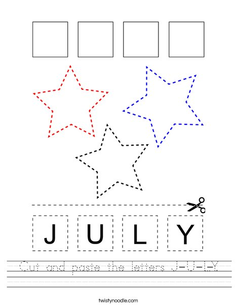 Cut and paste the letters J-U-L-Y. Worksheet