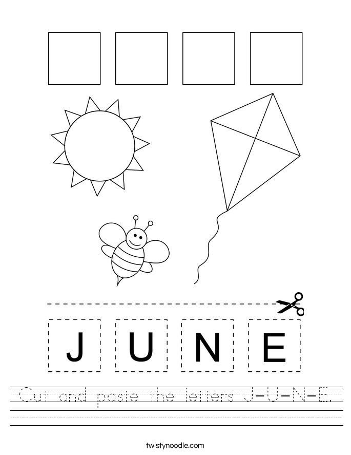 Cut and paste the letters J-U-N-E. Worksheet