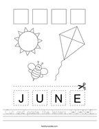 Cut and paste the letters J-U-N-E Handwriting Sheet