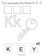 Cut and paste the letters K-E-Y Coloring Page