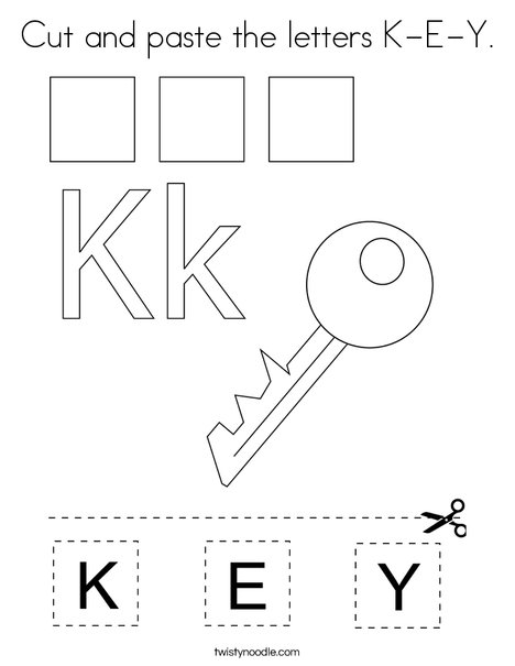 Cut and paste the letters K-E-Y. Coloring Page