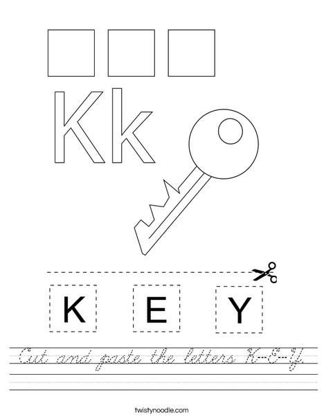 Cut and paste the letters K-E-Y. Worksheet