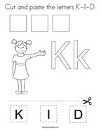 Cut and paste the letters K-I-D Coloring Page