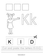 Cut and paste the letters K-I-D Handwriting Sheet