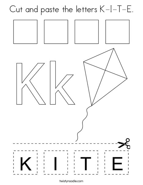 Cut and paste the letters K-I-T-E. Coloring Page