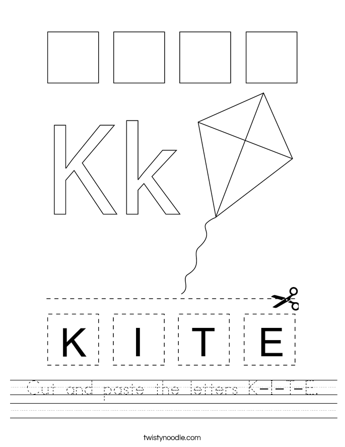 Cut and paste the letters K-I-T-E. Worksheet