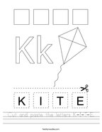 Cut and paste the letters K-I-T-E Handwriting Sheet