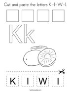 Cut and paste the letters K-I-W-I Coloring Page