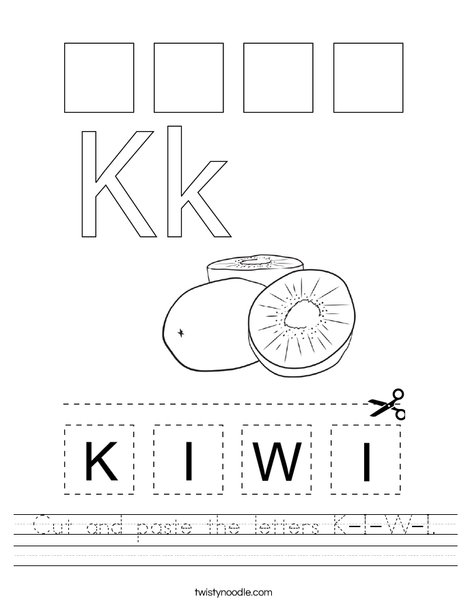 Cut and paste the letters K-I-W-I. Worksheet